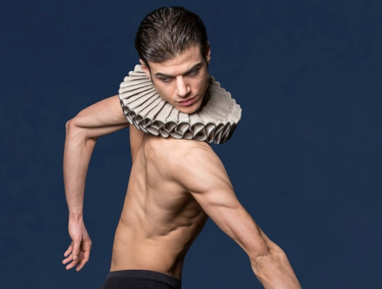 David Dato in a photo by Johannes Ifkovits, the publicity image. In Movements to Stravinsky costume where Dato does not dance